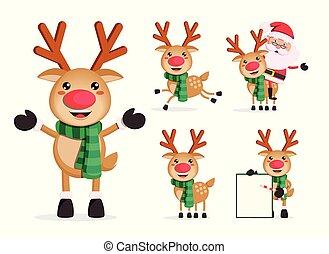 set., rudolph, caractère, noël, renne, vecteur, caractères, dessin animé