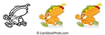 Set running cartoon hot dog