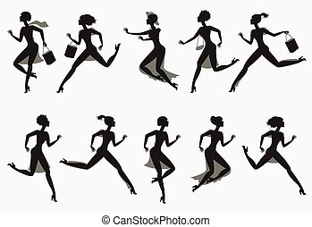 Set running silhouettes