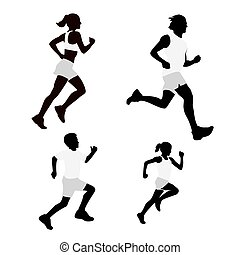 Set running silhouettes. Vector illustration.