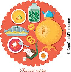 Set Russian national food. Illustration - Set Russian...