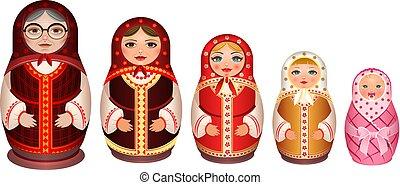 Set russian wooden nesting doll. Traditional retro souvenir...