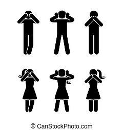 set, saggio, figura, pictogram, tre, bastone, scimmie