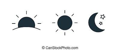 set, salita, mezzaluna, isolato, luna, fondo., regolazione, nero, bianco, elementi, notte, fascio, collezione, sole, giorno, illustration., pictograms., stars., silhouette, vettore, tempo, disegno, o