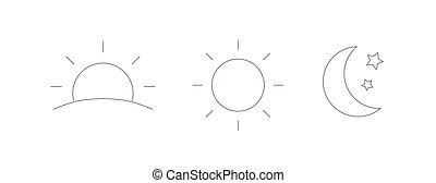 set, salita, mezzaluna, monocromatico, symbols., isolato, luna, fondo., regolazione, stelle, bianco, elementi, notte, fascio, icons., sole, giorno, illustration., contorno, vettore, tempo, collezione, disegno, o