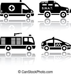 set, -, salvataggio, trasporto, icone