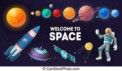 set, samenstelling, ruimte