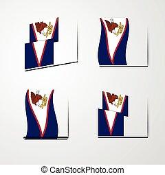 set, samoa, americano, bandierina ondeggiamento, vettore, disegno