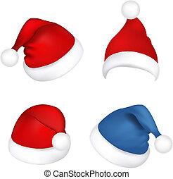 Set Santa Claus Hats - 4 Hats Santa Claus, Isolated On White...
