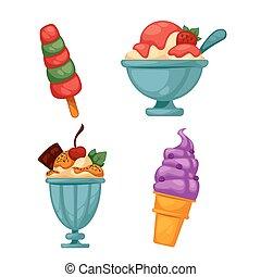 set, saporito, cream., colorito, ghiaccio