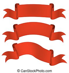 Set satin red ribbons isolated on white background. Vector illus