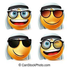 set., saudiaraber, emoji, brille, vektor, oder, brille, tragen, ghutra., emoticon, gesicht, araber, sonnenbrille