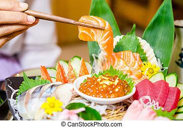 set., saumon, baguettes, sashimi