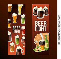 set, sbarra, alcool, beermug, beerbottle, birra chiara, illustrazione, beerhouse, scuro, birra, vettore, beerbarrel, fondale, fondo, bandiera parte, fabbrica birra, beery