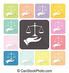 set, scale, giustizia, illustrazione, mano, colorare, vettore, presa a terra, icona