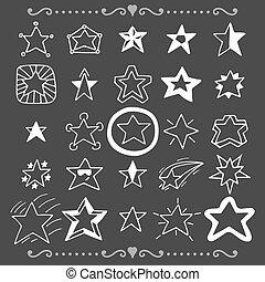 set, scarabocchiare, collezione, mano, stars., disegnato