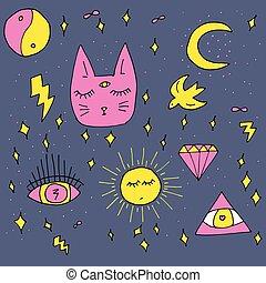 set, scarabocchiare, cosmico, hand-drawn, vettore, gatto, elementi, stile