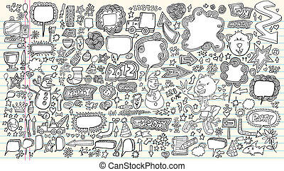 set, scarabocchiare, illustrazione, vettore