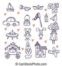 set, scarabocchiare, mano, bambini, toys., giocattoli,...
