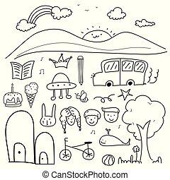 set, scarabocchiare, mano, vettore, disegnato, bello, kid.