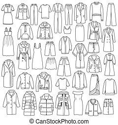 set, scarabocchiare, mano, vettore, disegnato, womens, abbigliamento