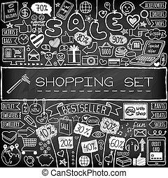 set., scarabocchiare, shopping