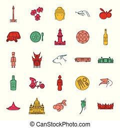 set, scarabocchiare, stile, indonesia, icone