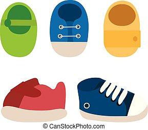 set, scarpe, colorito, icons., vettore, bambino