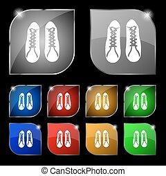 set, scarpe, dieci, segno., glare., bottoni, vettore, colorito, icona