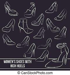 set, scarpe, dipinto, linee, alto s, talloni, donne
