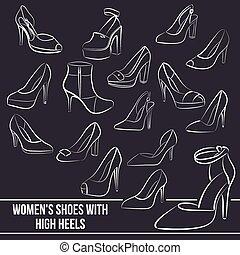 set, scarpe, dipinto, linee, donne, alti talloni