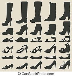set, scarpe, donne