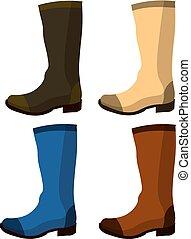 set, scarpe, elements., cuoio, boots., isolato, illustrazione, gomma, vettore