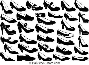 set, scarpe, illustrazione
