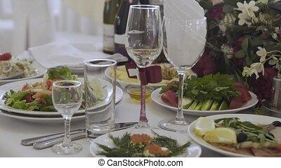 set., schöne , tisch, festlicher, bankett