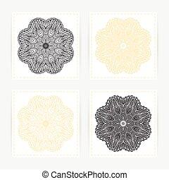 set, schets, model, ornament., hand, mandala., mal, doodle, kaarten, getrokken, geometrisch, ronde