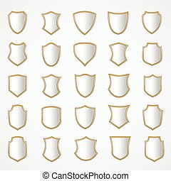 set, schild, shapes., ontwerp, gevarieerd, zilver