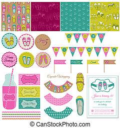 set, schoentjes, versiering, -, vector, jarig, feestje, baby, plakboek, meisje