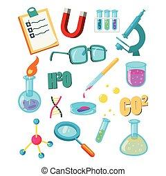 set, scienza, stile, cartone animato, icone