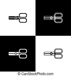 Set Scissors hairdresser icon isolated on black and white background. Hairdresser, fashion salon and barber sign. Barbershop symbol. Vector Illustration