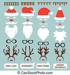 set, scrapbooking, foto, vector, kraam, reindeer., kerstman...