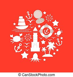 Set sea icon on red background. Vector