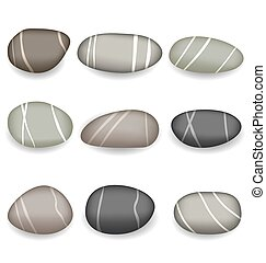 Set sea pebbles with shadows on white background -...