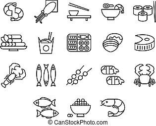 set, seafood, illustratie, vector