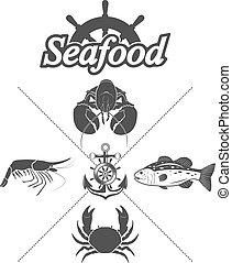 Set seafood symbols