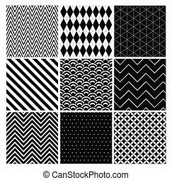 set., seamless, 黒い背景, 白, 幾何学的