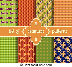 Set seamless backgrounds of sweets