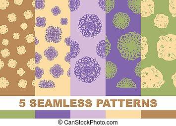 set seamless floral patterns. Vector illustration background.