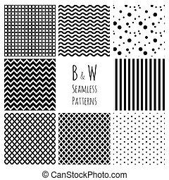 set., seamless, fondo negro, blanco, geométrico