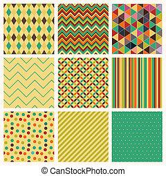 set., seamless, hipster, retro, fond, géométrique